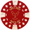 Save the Date Poker Chip Magnets with Champagne Glass Design