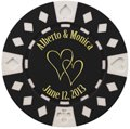 Save the Date Poker Chip Magnets, Hearts Design