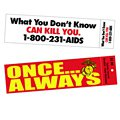 "11.5 x 3"" Bumper Stickers with Face Slits and Peg Holes"
