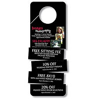 "3"" x 8"" Detachable Laminated Door Hangers, with 4 Detachable Coupons"