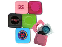 Custom Condom Compacts, Full Color Process Clear Label