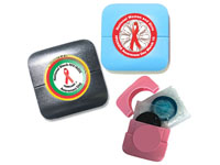 Custom Condom Compacts, Full Color Process White Label