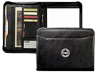Zippered Black Leather Padfolios