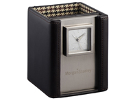 Leather Pen Cup Clocks, Cutter & Buck American Classic