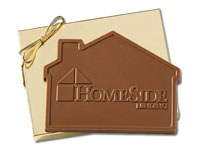 House Shaped Chocolate Bars, With Custom Mold Imprint 5 Oz., Kosher