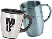 Metallic and Stainless Steel Travel Mugs