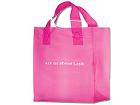 8 x 11 Pink Plastic Frosted Shopping Bags