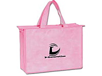 Pink Non-Woven Zippered Tote Bags