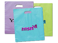 "15"" x 18"" Frosted Die Cut Plastic Bags"
