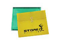 Plastic Side Open Envelopes with String Tie Closure