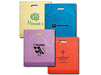 "15"" x 18"" Color Frosted Die Cut Plastic Bags"