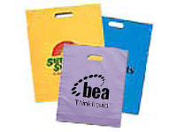 "15"" x 18"" Frosted Brite Die Cut Plastic Bags"