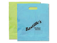 "12"" x 15"" Frosted Brite Die Cut Plastic Bags"
