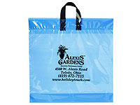"18"" x 18"" Tinted Clear Soft Loop Plastic Shopping Bags"