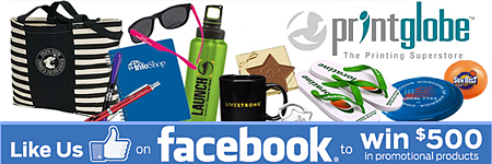 PrintGlobe's Facebook $500 Promotional Products Giveaway