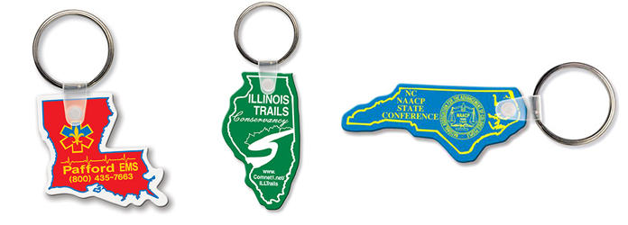 State-Shaped Vinyl Key Chains