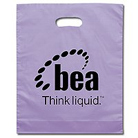 12 x 15 Die Cut Frosted Brite Plastic Bags, Ink Imprint