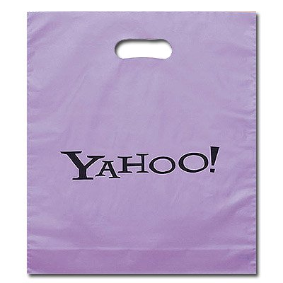 15 x 18 Frosted Brite Die Cut Plastic Bags - Ink Imprint