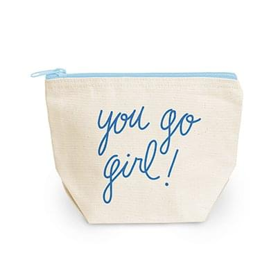 "9.75"" x 7.5"" x 3"" Canvas Cosmetic Bag - Custom Zipper Color"
