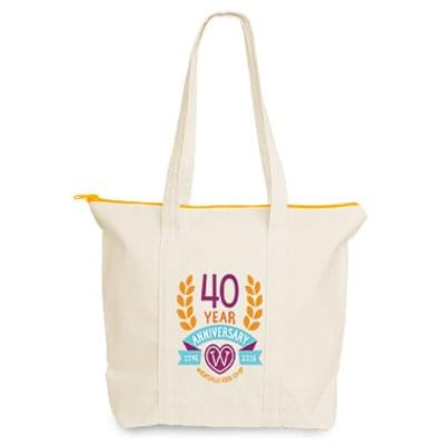 15 x 13 Canvas Tote Bags - Custom Zipper Color