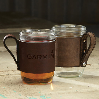 Leather Mason Jar Sleeve with Mason Jar