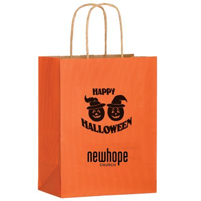 8 x 10.5 Happy Halloween Pumpkin Design Matte Orange Bags