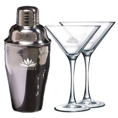 16 oz. Classic Engraved Martini Shakers with Two Glasses