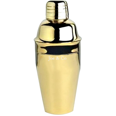 8 oz. Custom Engraved Gold Plated Cocktail Shakers