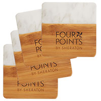 Marble and Bamboo Coaster Sets