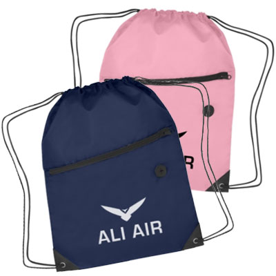 Polyester Drawstring Bags with Front Zippers - 1 Day Rush