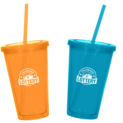 79a332f341d 16 oz. Double Wall Acrylic Tumblers with Straw & Lid | Rush | PrintGlobe
