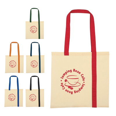 15.75 x 15 Striped Economy Cotton Canvas Tote Bags