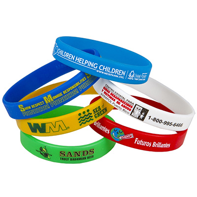 "1/2"" Screen Printed Silicone Bracelets - Super Saver"
