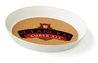 Round Serving Trays with Cork Surface - 13""