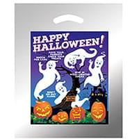 12 x 15 Ghosts with Pumpkins Halloween Bags - Silver Reflective
