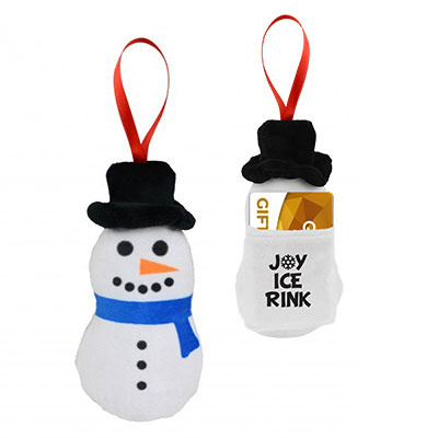 Scented Plush Snowman Ornaments & Gift Card Holders