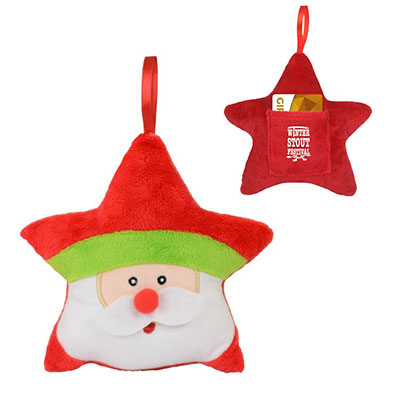 Plush Star Ornaments & Gift Card Holders - Santa