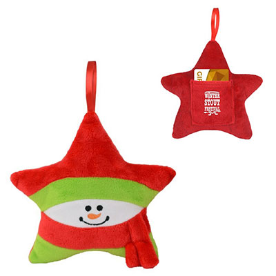 Plush Star Ornaments & Gift Card Holders - Snowman