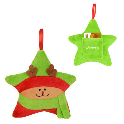 Plush Star Ornaments & Gift Card Holders - Reindeer