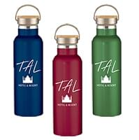 21 oz. Liberty Stainless Steel Bottles With Wood Lid