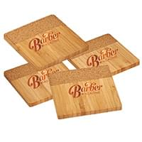 Bamboo and Cork Coaster Four Piece Sets