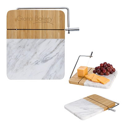 Marble and Bamboo Cheese Cutting Boards With Slicer