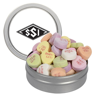Conversation Hearts in Round Tins