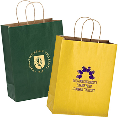 10 x 13 Colored Matte Paper Shopping Bags - Foil Stamped