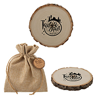 Woodlands Coasters in Burlap Bags