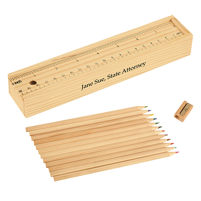 12 Piece Colored Pencil Sets in Wooden Ruler Box
