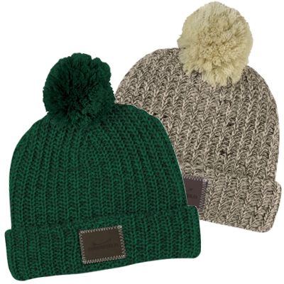Knit Pom Beanies With Cuff & Debossed Patch