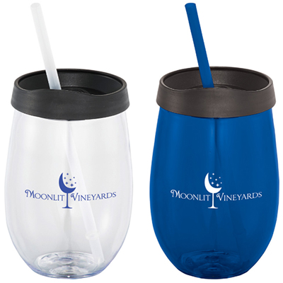 18 oz. Stemless Fiesta Tumblers with Straws