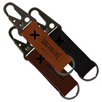 Busker Leather Keychain with Antique Nickel Carabiners