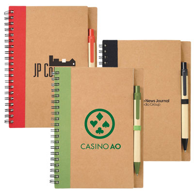 Eco Spiral Notebooks with Pen - 5 x 7